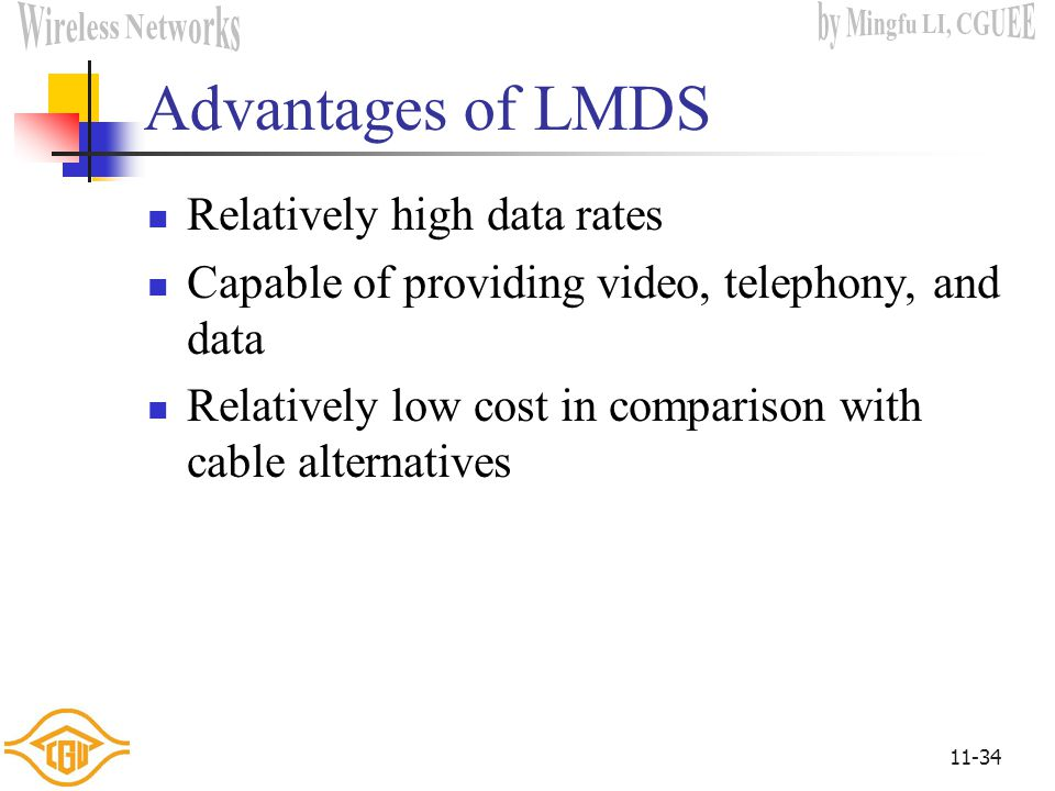 Advantages of LMDS Relatively high data rates
