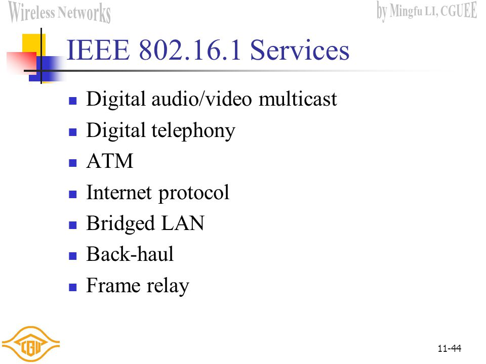 IEEE 802.16.1 Services Digital audio/video multicast Digital telephony
