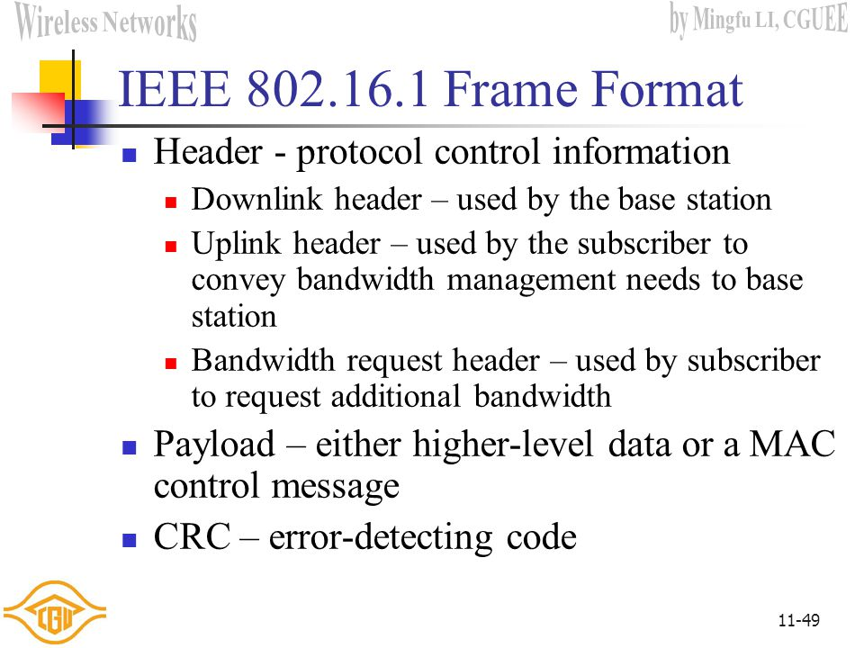 IEEE 802.16.1 Frame Format Header - protocol control information