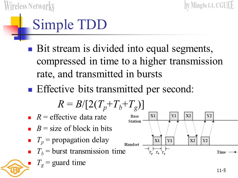 Simple TDD Bit stream is divided into equal segments, compressed in time to a higher transmission rate, and transmitted in bursts.