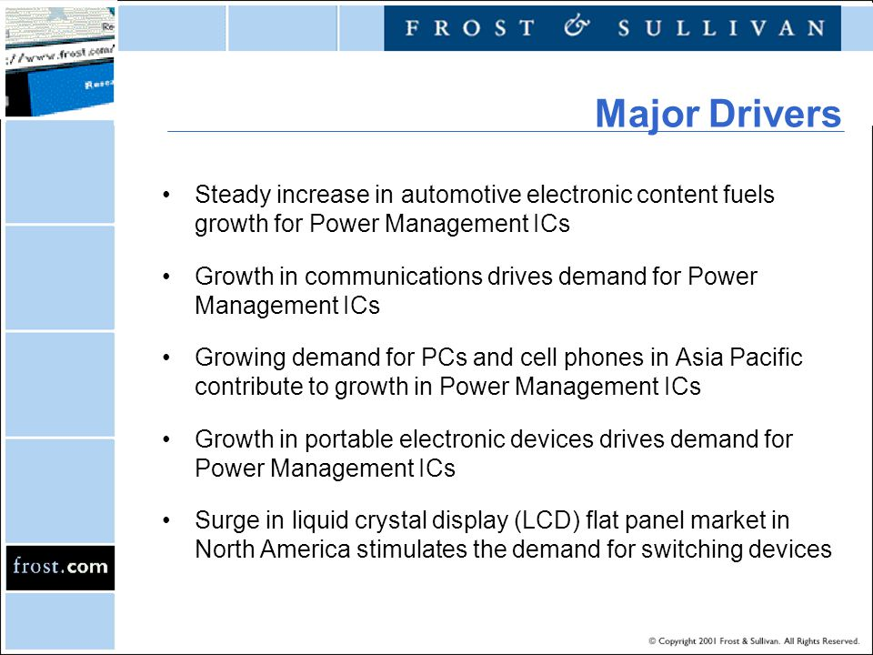 Major Drivers Steady increase in automotive electronic content fuels growth for Power Management ICs.