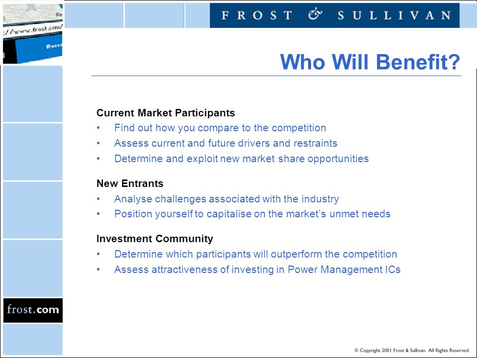 Who Will Benefit Current Market Participants