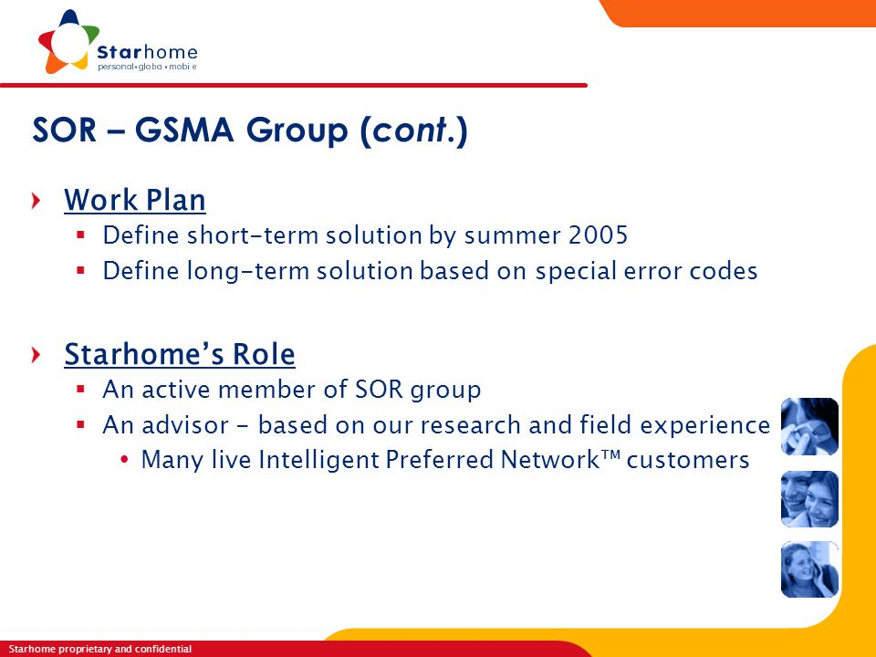 SOR – GSMA Group (cont.) Work Plan Starhome's Role
