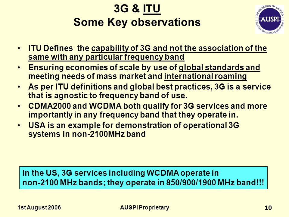 3G & ITU Some Key observations