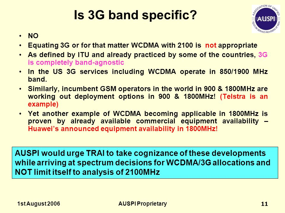 Is 3G band specific NO. Equating 3G or for that matter WCDMA with 2100 is not appropriate.