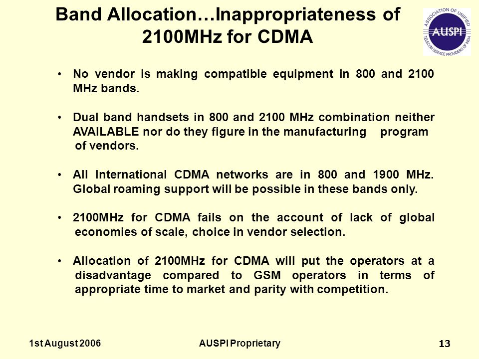 Band Allocation…Inappropriateness of 2100MHz for CDMA