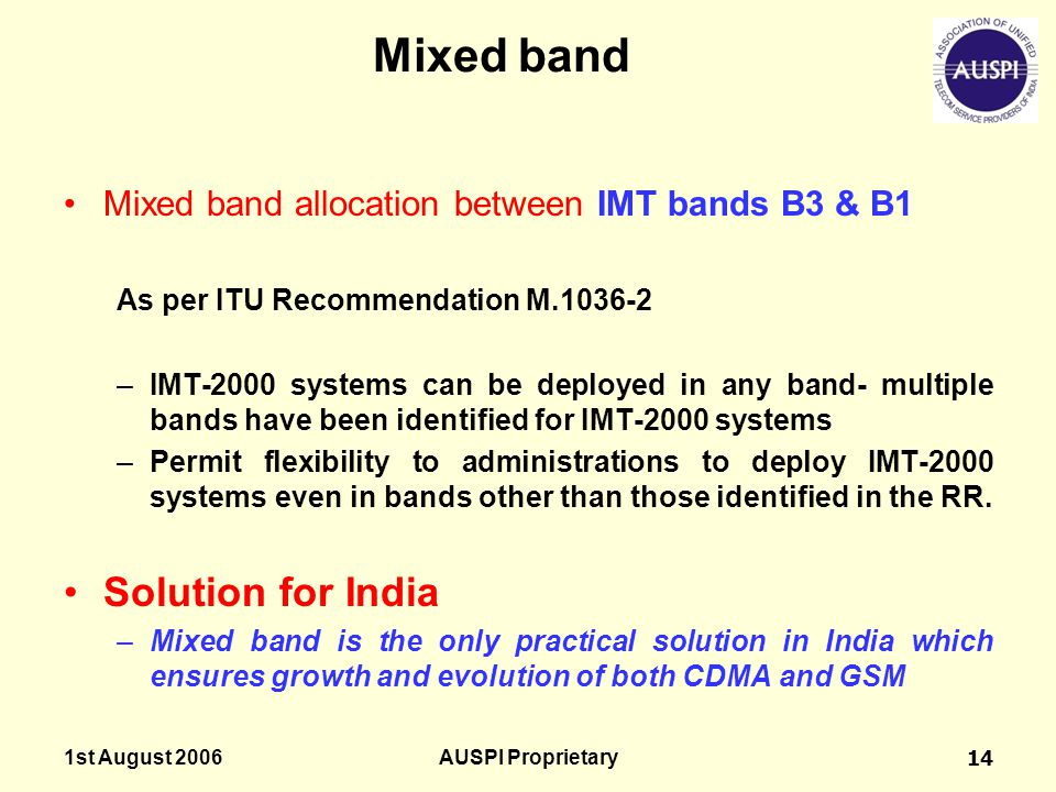 Mixed band Solution for India