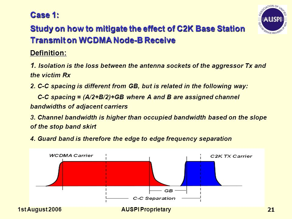 Case 1: Study on how to mitigate the effect of C2K Base Station Transmit on WCDMA Node-B Receive. Definition: