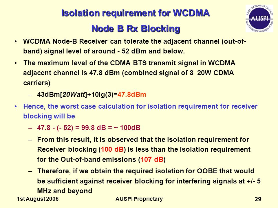 Isolation requirement for WCDMA Node B Rx Blocking