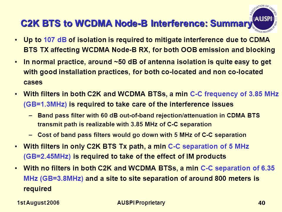 C2K BTS to WCDMA Node-B Interference: Summary