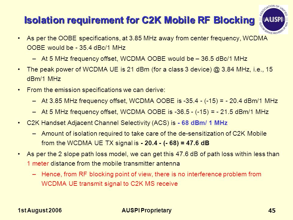 Isolation requirement for C2K Mobile RF Blocking