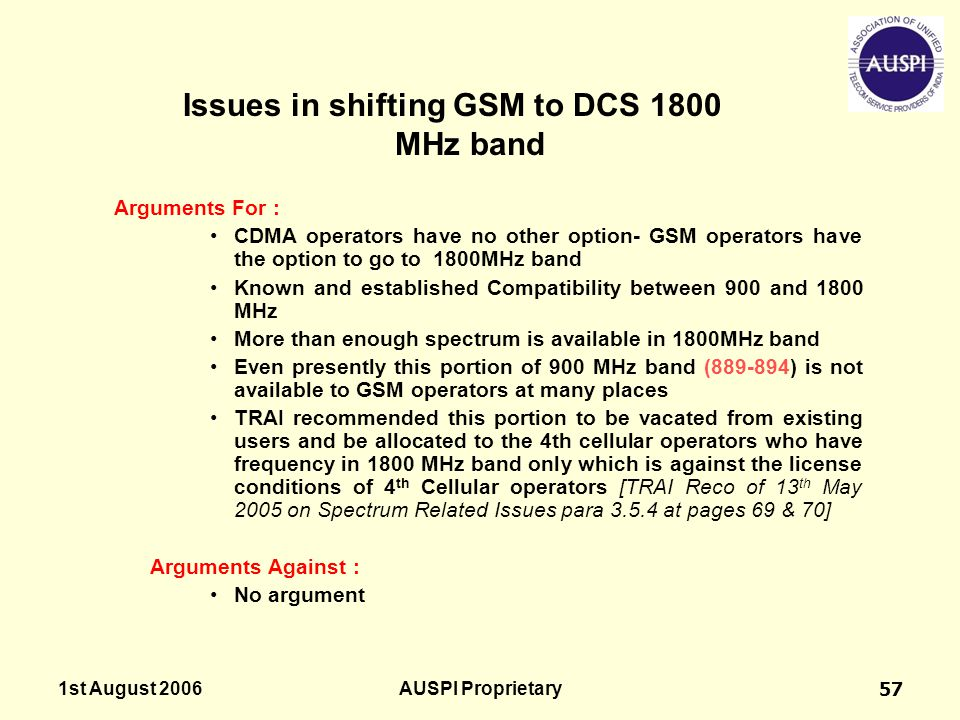 Issues in shifting GSM to DCS 1800 MHz band