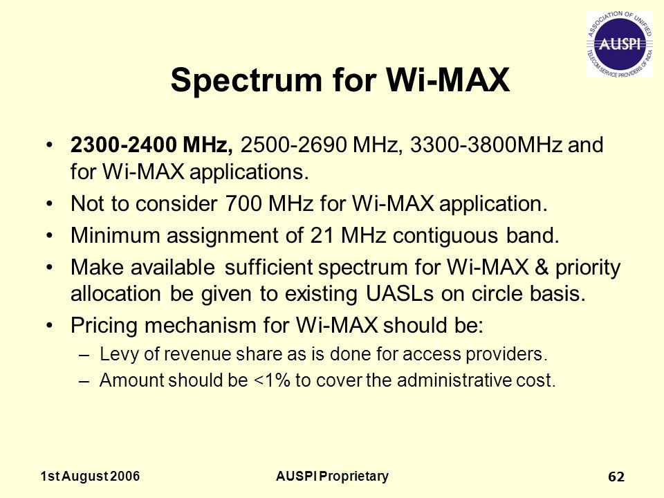 Spectrum for Wi-MAX 2300-2400 MHz, 2500-2690 MHz, 3300-3800MHz and for Wi-MAX applications. Not to consider 700 MHz for Wi-MAX application.
