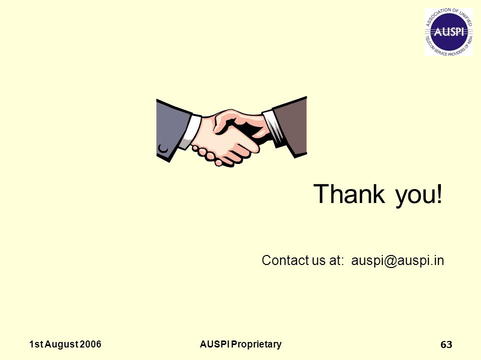 Thank you! Contact us at: auspi@auspi.in