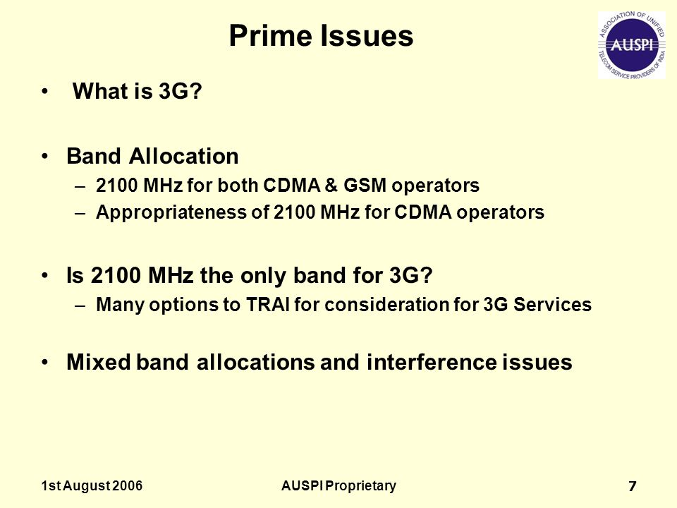 Prime Issues What is 3G Band Allocation