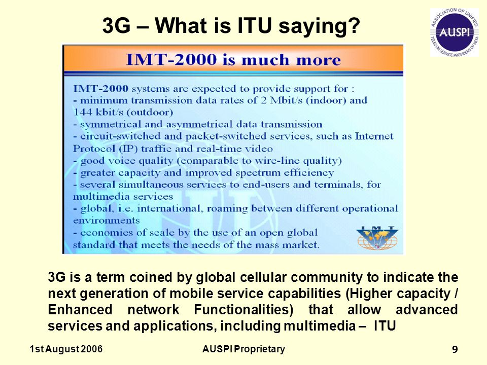 3G – What is ITU saying
