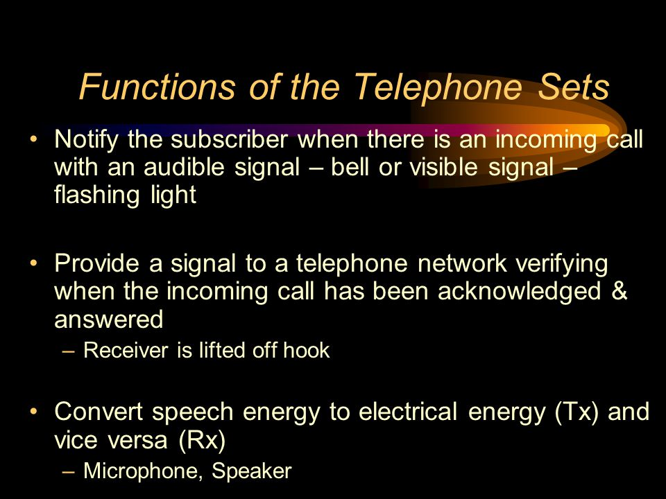 Functions of the Telephone Sets