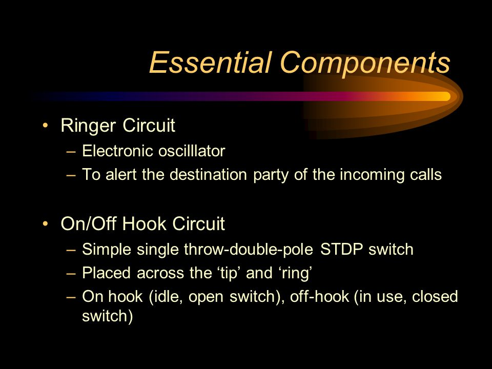 Essential Components Ringer Circuit On/Off Hook Circuit