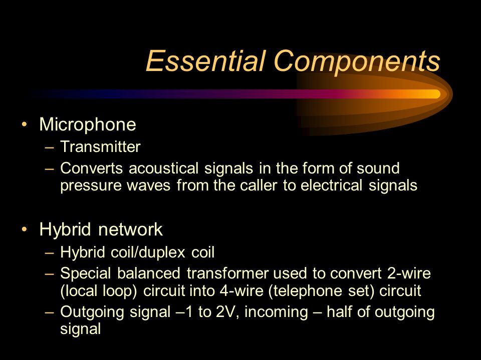 Essential Components Microphone Hybrid network Transmitter