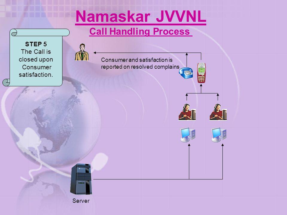 Namaskar JVVNL Call Handling Process STEP 5 The Call is closed upon