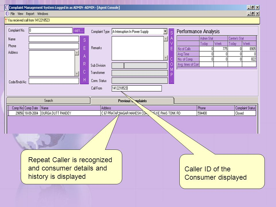 Repeat Caller is recognized and consumer details and history is displayed