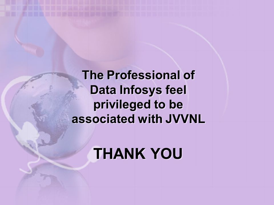 The Professional of Data Infosys feel privileged to be associated with JVVNL
