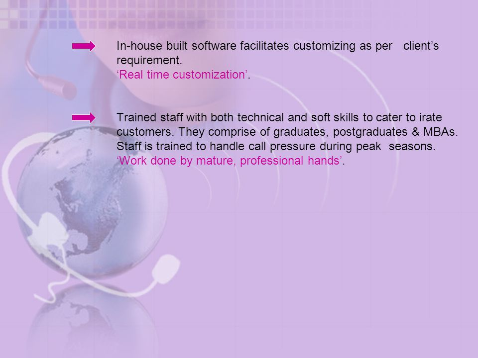 In-house built software facilitates customizing as per