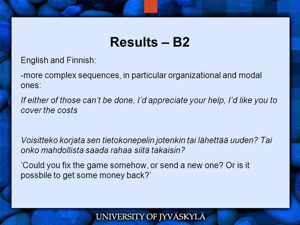 Results – B2 English and Finnish: