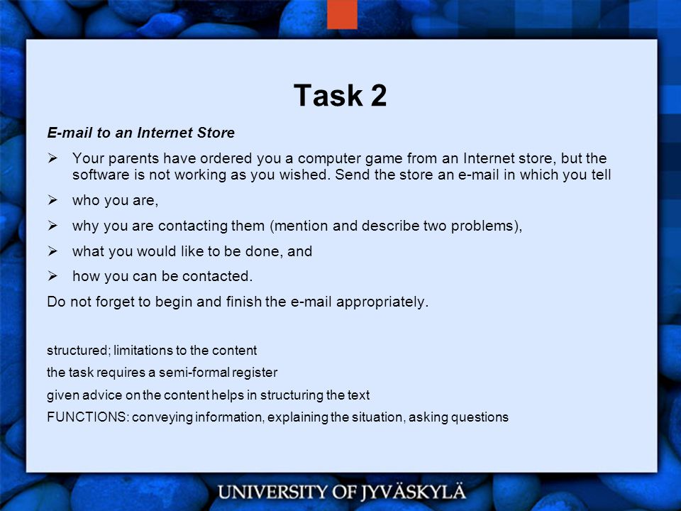 Task 2 E-mail to an Internet Store