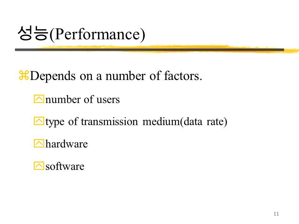 성능(Performance) Depends on a number of factors. number of users