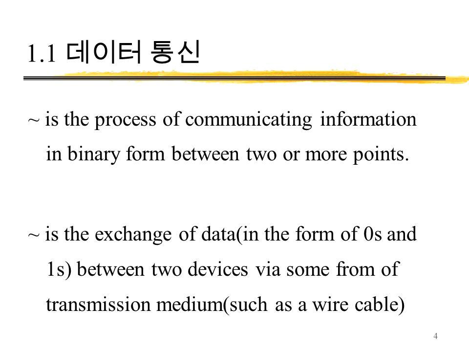 1.1 데이터 통신 ~ is the process of communicating information in binary form between two or more points.