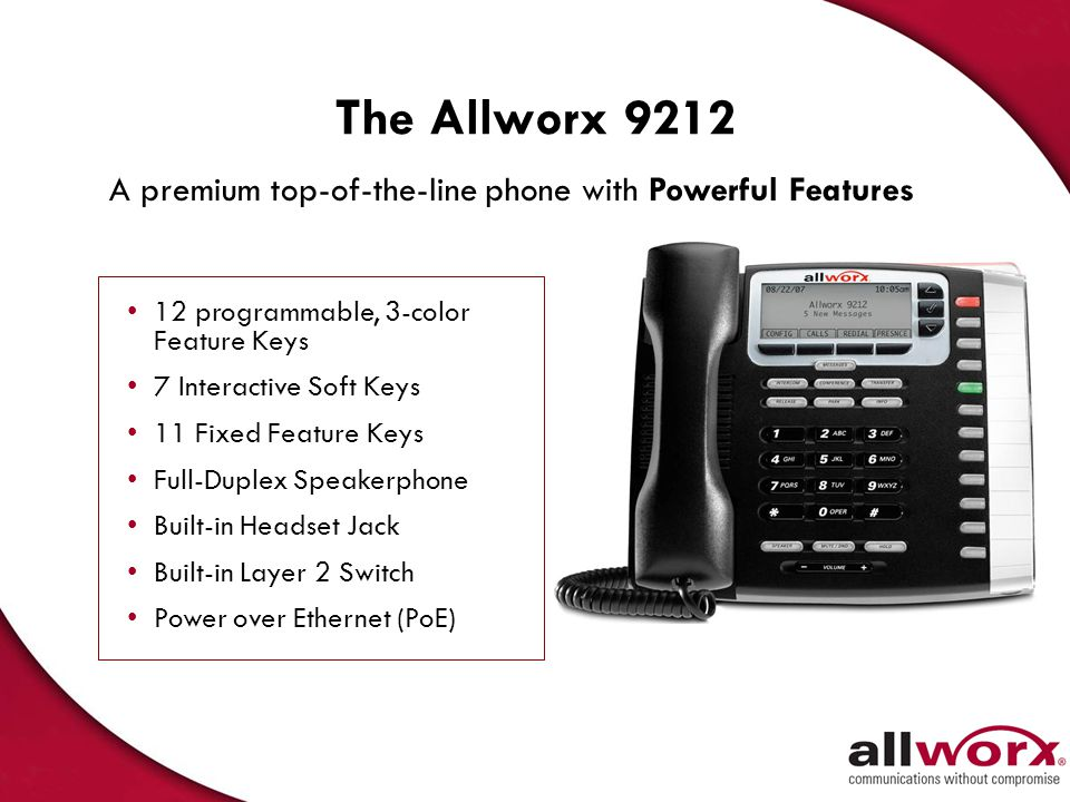 The Allworx 9212 A premium top-of-the-line phone with Powerful Features. 12 programmable, 3-color Feature Keys.