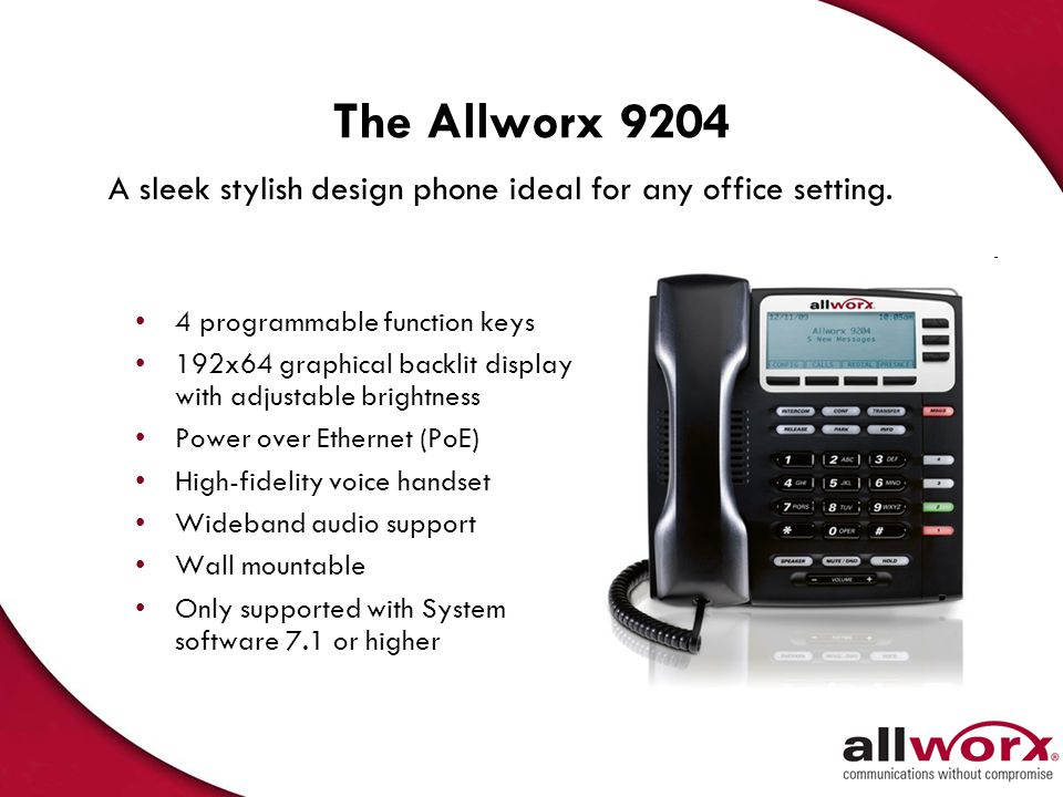 The Allworx 9204 A sleek stylish design phone ideal for any office setting. 4 programmable function keys.