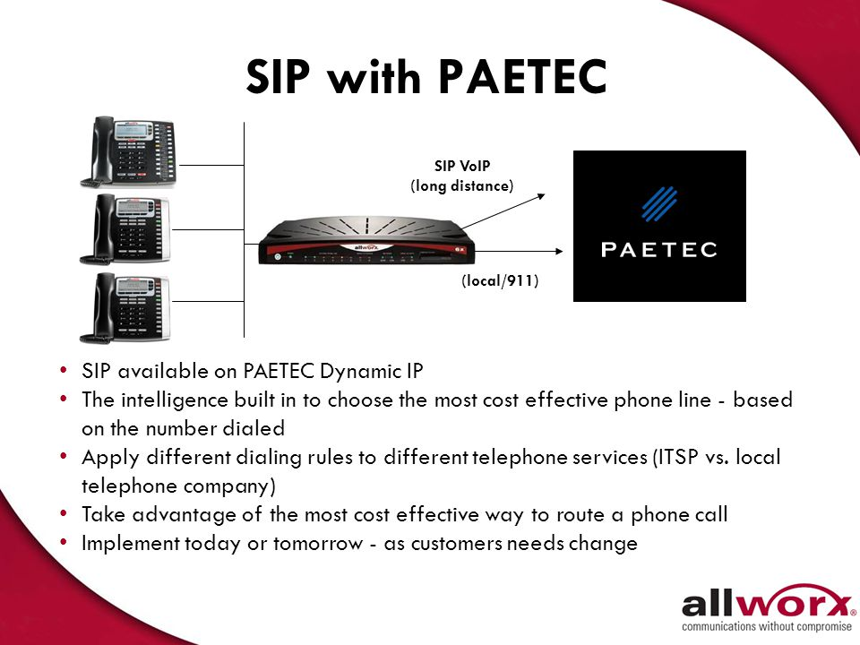 SIP with PAETEC SIP available on PAETEC Dynamic IP