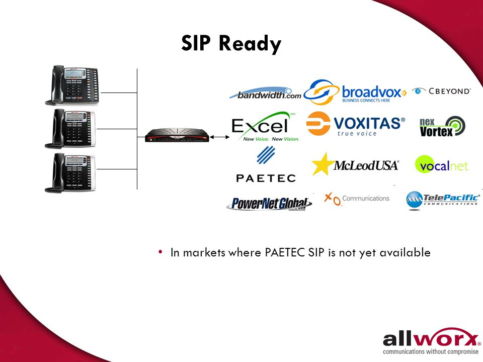 SIP Ready In markets where PAETEC SIP is not yet available (local/911)