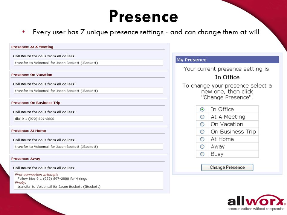 Presence Every user has 7 unique presence settings - and can change them at will