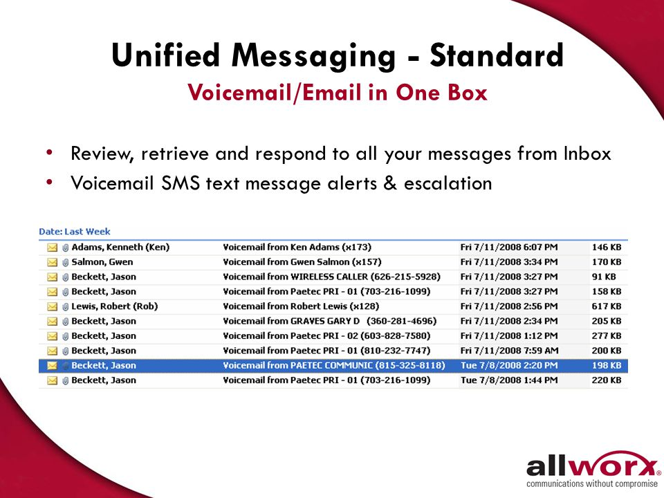 Unified Messaging - Standard Voicemail/Email in One Box