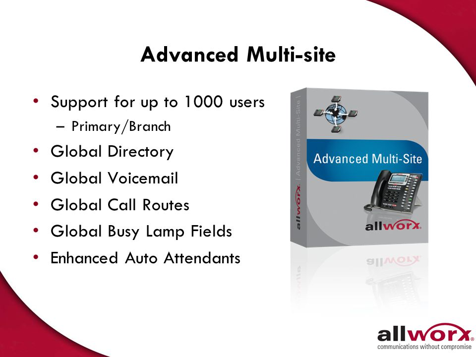 Advanced Multi-site Support for up to 1000 users Global Directory
