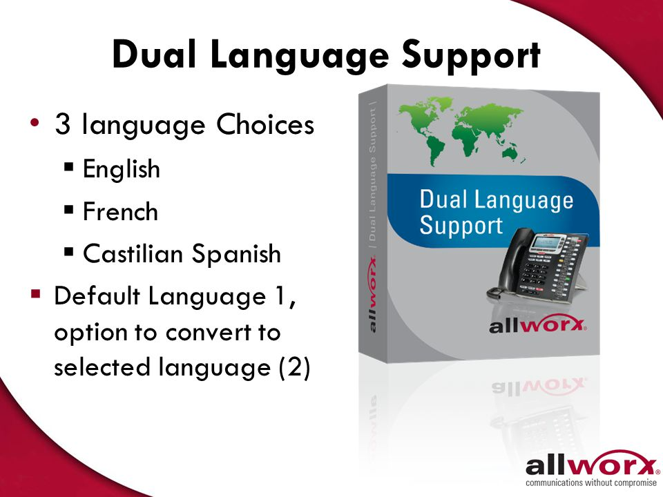 Dual Language Support 3 language Choices English French