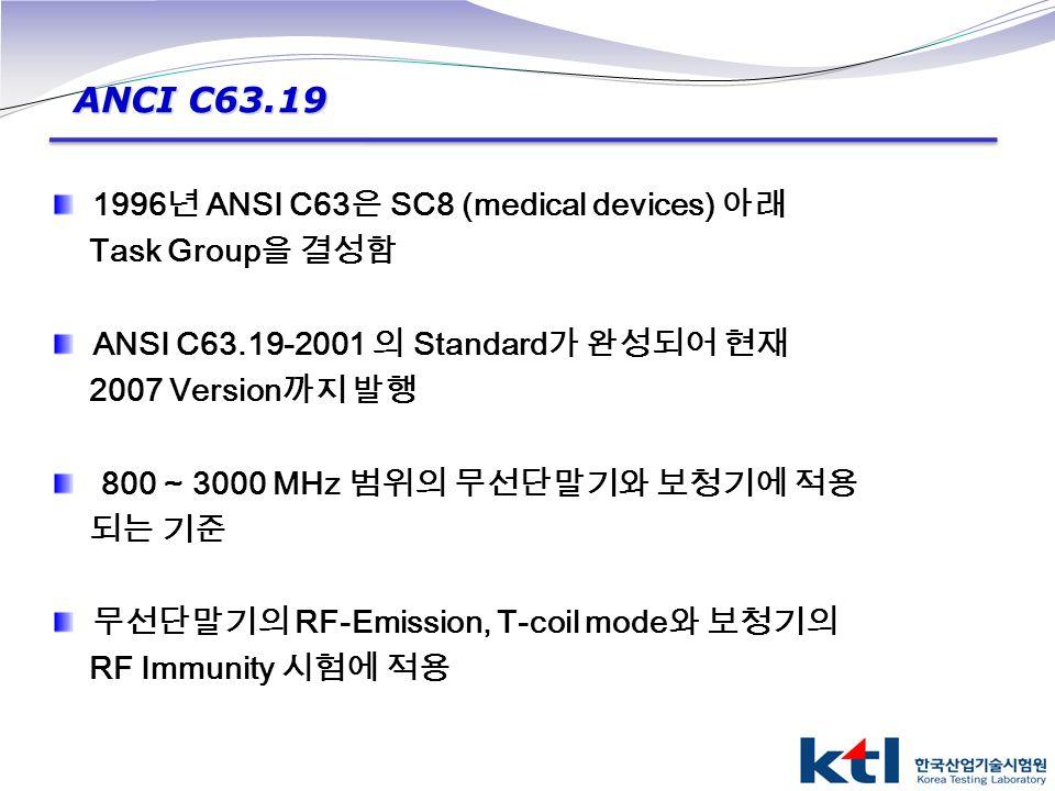 ANCI C63.19 1996년 ANSI C63은 SC8 (medical devices) 아래 Task Group을 결성함