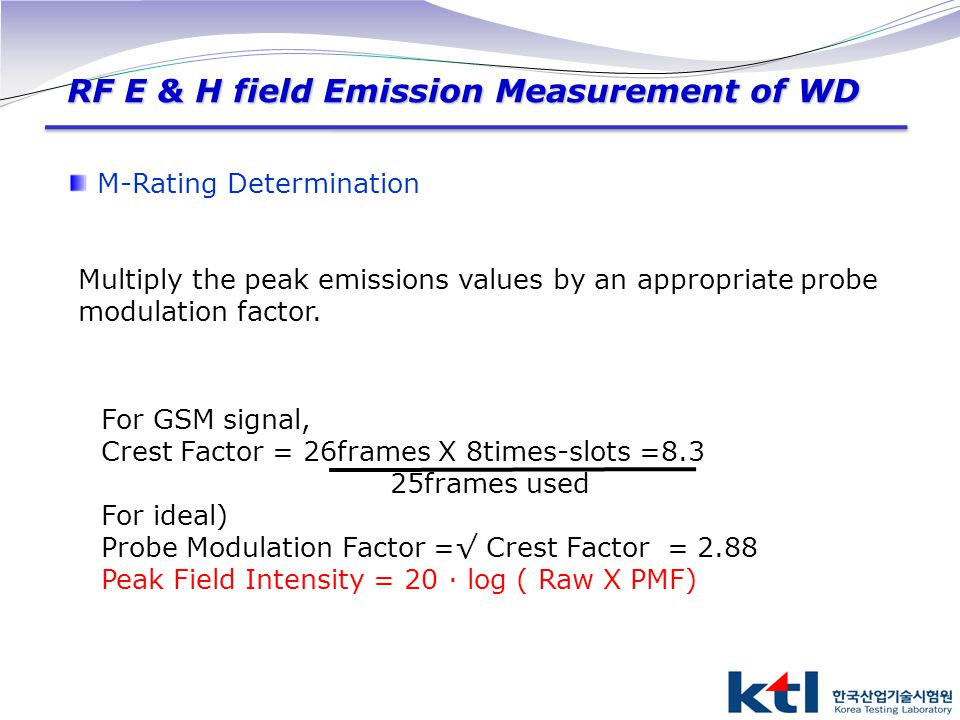 RF E & H field Emission Measurement of WD