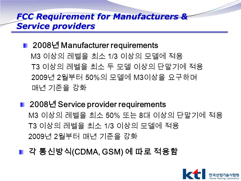 FCC Requirement for Manufacturers & Service providers