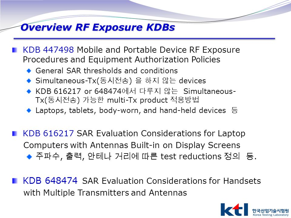 Overview RF Exposure KDBs