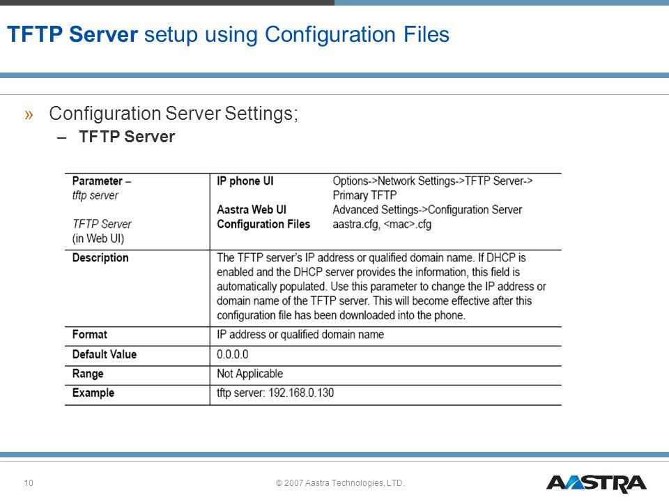 TFTP Server setup using Configuration Files