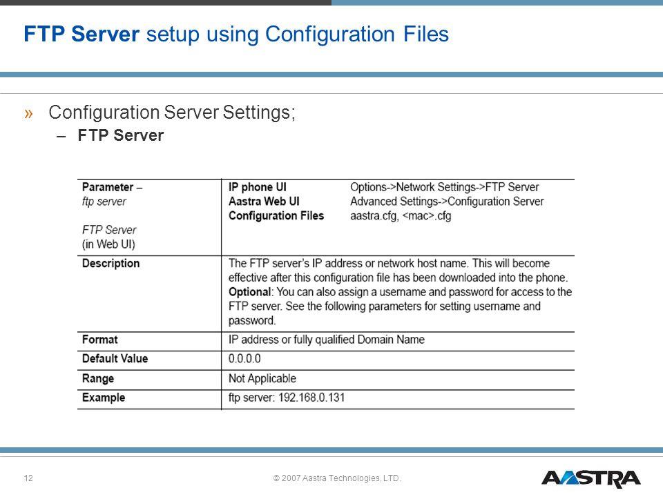 FTP Server setup using Configuration Files