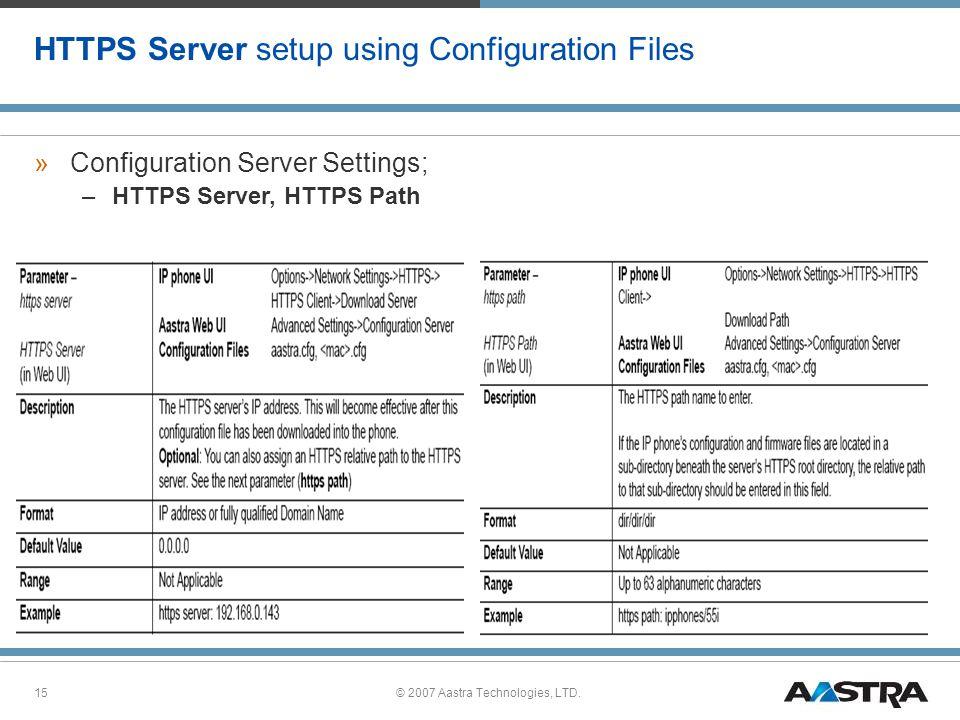 HTTPS Server setup using Configuration Files
