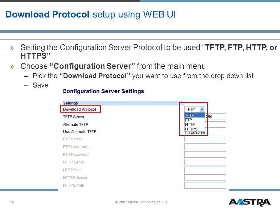 Download Protocol setup using WEB UI