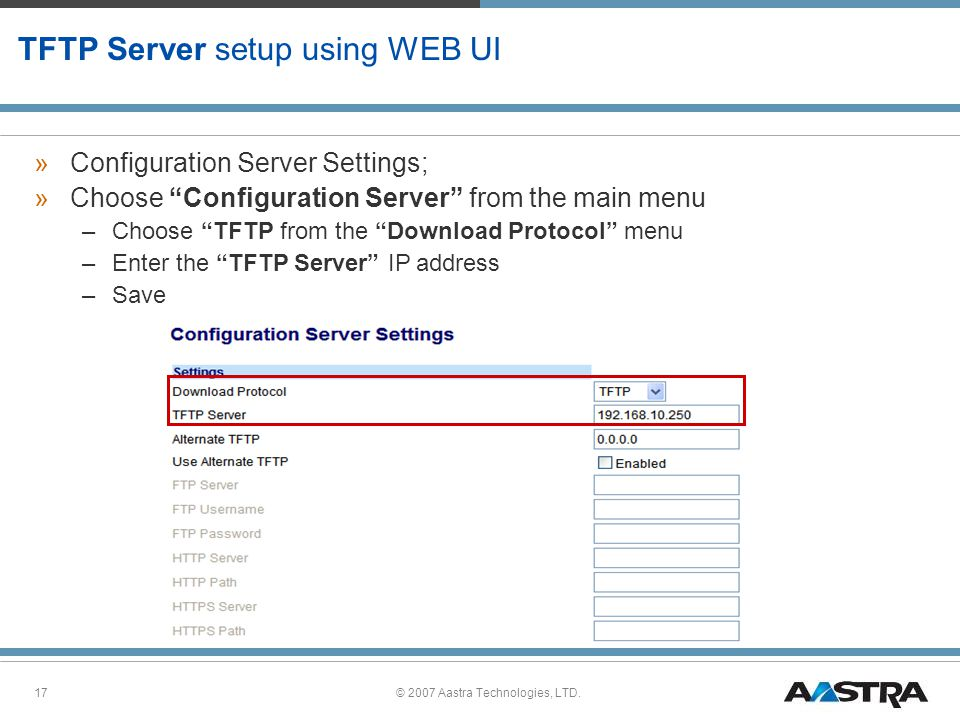 TFTP Server setup using WEB UI