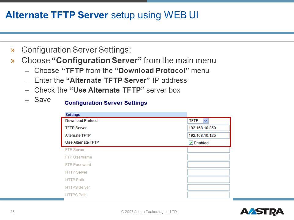 Alternate TFTP Server setup using WEB UI