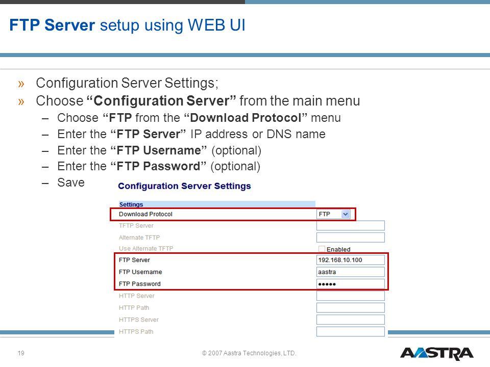 FTP Server setup using WEB UI